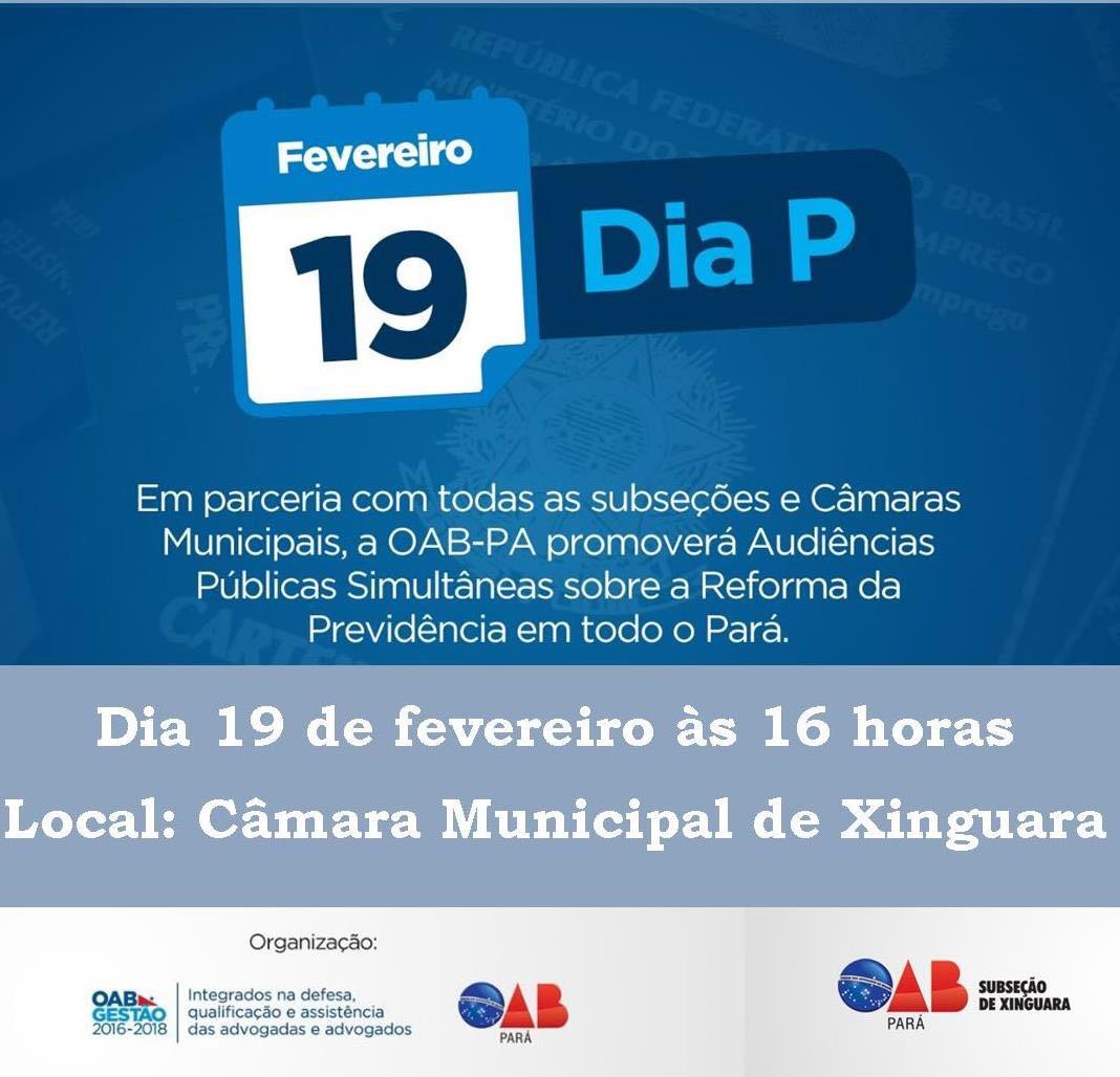 Foto de Reforma da Previdência será discutida na Câmara Municipal de Xinguara